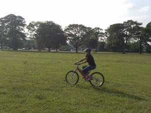 Newby on a bike
